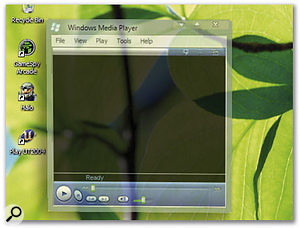 Windows Longhorn will feature windows with variable translucency so that you can still see what's going on underneath.