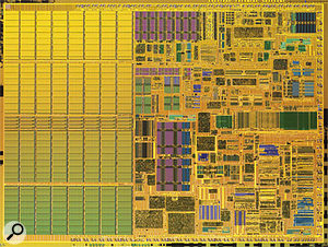 Intel's new Dothan CPU (top) uses a different manufacturing process to cram 80 percent more transistors and double the amount of L2 cache onto the die, compared with the Banias it supersedes (above).