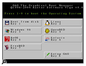 With a simple yet informative graphic interface, GAG is one of the easiest and cheapest boot managers around.