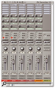 By selecting hardware outputs in the Mixing Board's sends it's possible to mimic hardware mixer practice and set up multiple independent monitor mixes. Here, a vocalist and guitarist are being provided with different monitor mixes courtesy of two output pairs of a multi-channel audio interface.