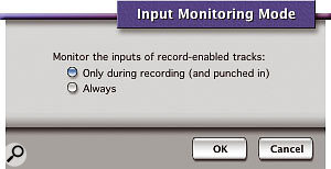 The Input Monitoring Mode dialogue with four options is the one you see if you're using a separate audio interface. The simpler dialogue is the one that appears if you're using the Mac's built-in hardware.