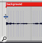 Positioning the mouse pointer at the left or right edge of a soundbite and then dragging allows its boundaries to be trimmed -- a fundamental audio editing technique.