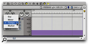 The Sequence Editor can display the Conductor Track, but to enter tempo data you first need to select the Tempo 'layer'.