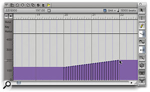 Entering tempo data in the MIDI Graphic Editor window, with the Tools palette 'docked' on its right. Note the location and tempo information at the top left of the window. This constantly updates as you move the mouse pointer, allowing a high degree of accuracy if you're working graphically.
