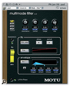 DP's Multimode Filter plug-in also accepts a side-chain audio signal, but uses it to trigger its built-in envelope generator, which in turn modulates the filter's cutoff or centre frequency.