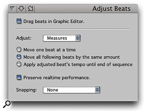 The Adjust Beats window, which allows you to visually drag beats in the time ruler, is a highly specialised way of entering Conductor Track tempo data.