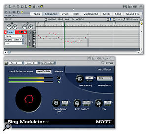 Virtual Instrument plug-ins are driven with MIDI messages, so why shouldn't audio processing plug-ins be too? Here DP's Ring Modulator is set up so that its Internal Oscillator frequency is being controlled in real time by a MIDI track.