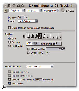 Digital Performer's real-time MIDI effect plug-ins can work on pre-recorded tracks or a live input. Several, including this highly configurable arpeggiator, are very inspiring to work with.