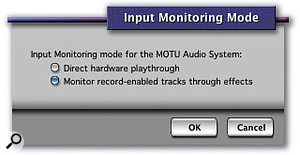 If you monitor your input signals in DP you have two basic choices: use effects but suffer latency, or forgo them and achieve much lower latency. This dialogue box is where you make that choice.
