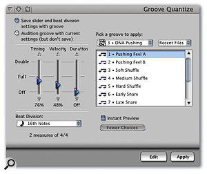 The simplified (left) and full-strength versions of the Groove Quantise window. The simple window allows you to choose and apply a groove and variation feel, while the more complex one (accessed via the More Choices button) also offers sliders for varying how much of the groove's note Timing, Velocity and Durations will be applied to the region you're quantising.