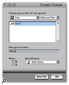 The Create Groove window is where you can save the feel of a selected MIDI part as a new groove template.