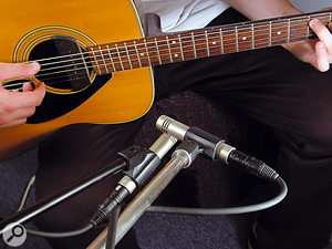Phase can be a problem with stereo miking of sources that aren't stationary. An acoustic guitar player, for example, will usually move the guitar at least a little during performance — which is why closely placed coincident pairs tend to be preferred over spaced stereo techniques.