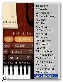 Philharmonik's 20-strong effect list — check out lo-fi and phonograph if you want to add that 78rpm feel to your 21st Century productions!