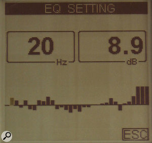 The EQ Setting screen, which suggests what EQ settings would be required to flatten the frequency response of the audio system under analysis.