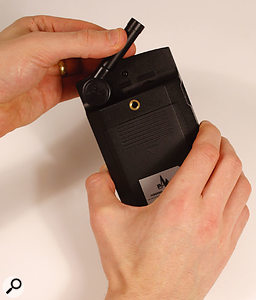 The measurement mic built into the PAA2 locks into a stowing position flat against the case, which makes the system easier to carry. In the stowing recess can be found the main power switch and an LCD contrast control.