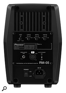 The rear panel houses controls for three bands of EQ adjustment, as well as an input-gain knob and the balanced and unbalanced input connections.