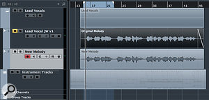 2a. Before you attempt to rewrite your vocal melody, tidy up the original and do any routine editing tasks so you're working with the cleanest version possible: then make a  copy that you can edit independently of the original audio.