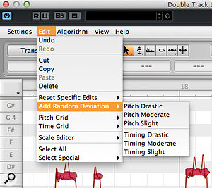 3b. Melodyne includes tools for automatically adding random pitch and timing variations to selected note blobs: ideal for creating realistic double-tracked vocal parts.