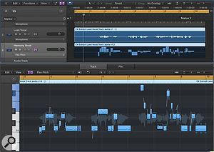 4a. My original (upper track) and 'harmony' (lower track) vocals in Logic. The latter is selected for editing within the Audio Track Editor, with the Flex Pitch algorithm selected.
