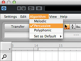 6a. Melodyne includes an algorithm specifically intended for percussive sounds.