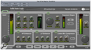 Drumstrip is the first optional plug-in for the SSL Duende DSP platform, and combines a number of sub-modules within a single window, all optimised for processing drum sounds.