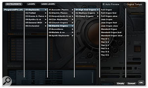 The Preset Browser provides access to the various categories of sampled instruments (as shown here), the included loops and any user-imported loops.