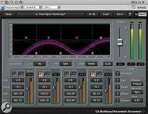 The flexible C4 multiband EQ and dynamics processor, from the Waves Gold Native bundle.