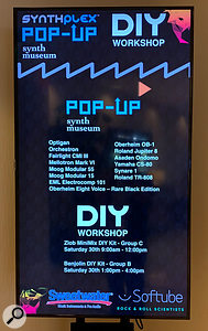 Synthplex 2019 pop-up synth museum banner.