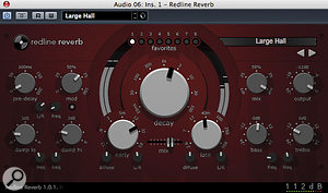 It's no coincidence that the biggest dial, smack in the centre of this 112dB Redline Reverb, controls decay time: that's probably the first control you should reach for when tweaking a reverb preset tosuit your mix.