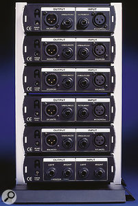 The rear panels of the four units in the range (top to bottom): Tube Pre, Comp16, EQ3B, and HP4.