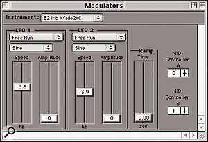 This screenshot and the opening one (above) show a Samplecell Bank (multi-instrument patch), a keygroup map for one of the instruments, and a modulation window.