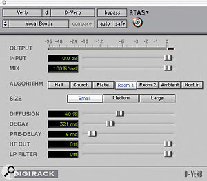 Figure 1: Vocal Booth patch settings.