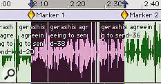 Here, a section of audio has been selected by placing markers and using keystrokes.