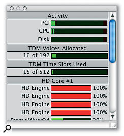 The System Usage window now shows the used TDM Voices for Pro Tools HD systems, which is useful to keep track of resources when running a large number of audio tracks and RTAS plug-ins.