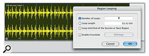 Region Looping makes it easy to work with audio and MIDI loops in Pro Tools, as shown by this looped Region Group that started life as an imported REX file. Looped Regions are identified with a 'looped' icon in the bottom-right corner of a Region.