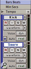 The kick track is sample-based (clock icon), but the snare track is tick-based (metronome icon).