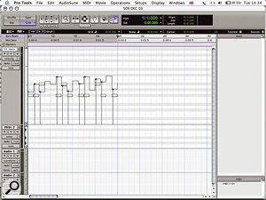 The pencil tool can be used in Random mode to introduce variation in MIDI note velocities.