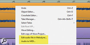 Right-click on object to edit the audio in Melodyne or convert the audio to MIDI.