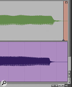 Screen 4: Warping the last note to match the reference requires a  lot of time–stretching, hence Pro Tools' warning red flag.