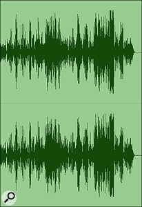 Screen 1C: the same waveform with some limiting applied to the loudest peaks.
