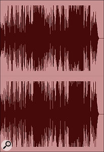 Screen 1D: a loudness-maximised version of the same track, with heavy compression and limiting applied.