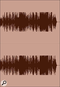 Screen 1E: the same heavily compressed waveform after it has been 'turned down' by a loudness normalisation algorithm.