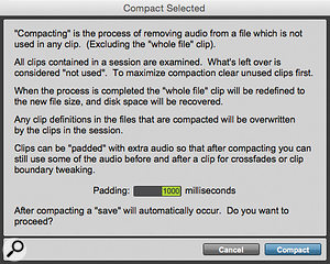 This is probably the biggest warning window in Pro Tools! Once you click Compact, there is no going back. You can also set the length of the 'handles' here, in milliseconds.