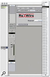 Rewire inputs are brought into Pro Tools tracks via the Rewire RTAS plug-in.