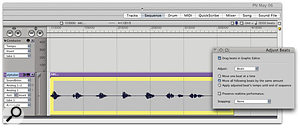 When you combine Conductor Track tempo information with DP's time-stretching capabilities, soundbites can become quite 'liquid'. The steady rhythm in this soundbite is about to be transformed into something more irregular.