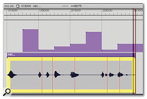 Using Adjust Beats, the time ruler's bar and beat lines can be dragged relative to the soundbite, to define a new rhythmic structure for it. It looks as if the audio has already changed, but it hasn't... yet.