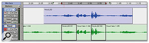 What appear as separate drop-ins within the vocal track (the lower track) are in fact parts of a single file that Pro Tools has recorded.