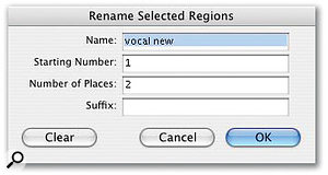 The multiple regions created by Strip Silence can be named according to criteria you specify.