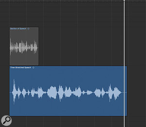 Pads from spoken word 2: Use whatever time-stretching tools you have to stretch the clip to three or four times its original length. Don't worry about processing artifacts; they'll sound obvious at this stage, but we'll address that later.
