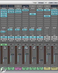 There are few hard and fast rules for using effects in a mix. This Logic mix (above) has lit sends showing multiple tracks routed to the same bus. The bus channel provides the effects for all the individual tracks sent to it. This is often expressed as using 'common' or 'global' effects, and it can produce a more cohesive-sounding mix.